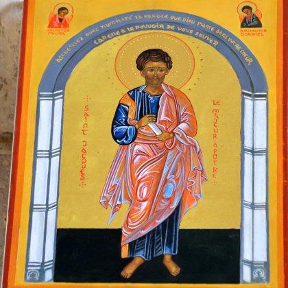 Icône St Jacques exposée dans l'église St Hilaire